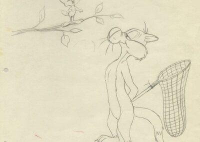 Slyvester Catching Tweety Sketch