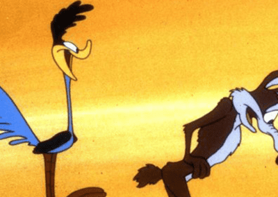 Road Runner Behind Wile E Coyote