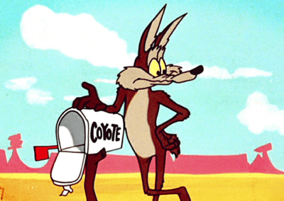 Wile E Coyote Leaning On Mailbox